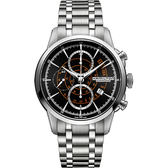 Hamilton 漢米爾頓 RAILROAD 鐵路系列計時機械腕錶/手錶-黑x銀/44mm H40656131