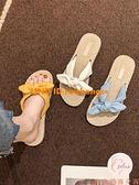 蝴蝶結拖鞋女夏外穿百搭休閑時尚平底一字拖涼拖鞋【大碼百分百】