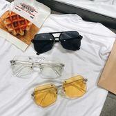 太陽眼鏡 男士透明遮陽平光鏡太陽眼鏡個性墨鏡 台北日光