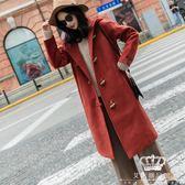 毛呢外套 女裝秋冬韓國學生中長款雙面羊絨駝色牛角扣毛呢大衣
