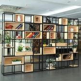 屏風鐵藝置物架客廳屏風隔斷美式實木工業風辦公室展示架子【快速出貨八折搶購】