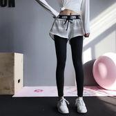 健身褲女 annerun健身褲女彈力緊身假兩件運動長褲高腰跑步訓練速干瑜伽褲 芭蕾朵朵