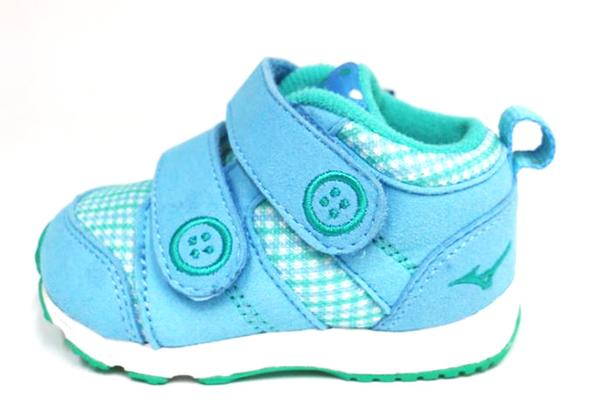MIZUNO美津濃 幼童鞋 促進發育鞋墊 魔鬼氈 學步鞋 布鞋 HUG MOCK INFANT K1GD163123(粉藍/綠)[陽光樂活]