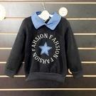 ☆棒棒糖童裝☆(S67708)秋冬男童氣質學院風貼布星星內刷毛長袖上衣 5-17