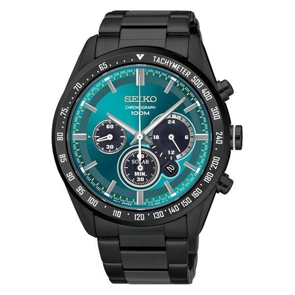 【時間光廊】SEIKO 精工錶 Criteria 黑綠 光動能 三眼錶 藍寶石水晶鏡面 全新原廠公司貨 SSC475P1