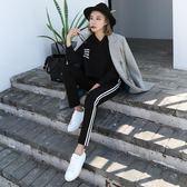 店慶優惠-加絨運動褲女 學生韓版寬鬆九分褲黑色褲子 小腳褲哈倫褲