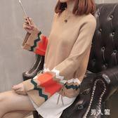 毛衣秋新款上衣韓版毛衣女拼色喇叭袖套頭寬鬆針織衫 zm6168『男人範』