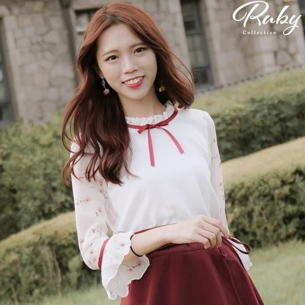 上衣 韓國直送‧荷葉綁帶印花七分袖上衣-Ruby s 露比午茶