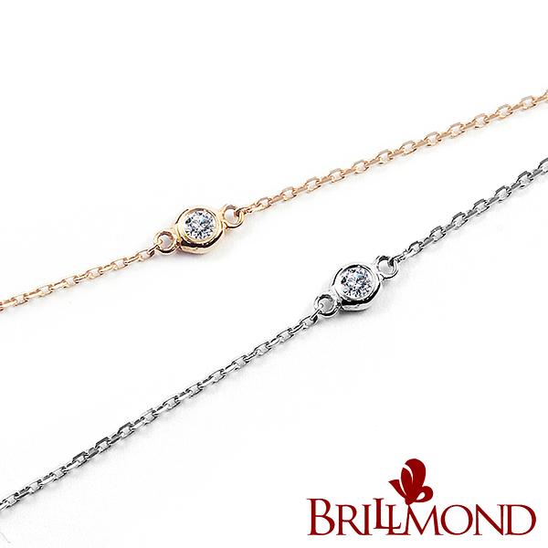 鑽石手鍊 BRILLMOND 經典優雅18K金鑽石手鍊(雙色選)