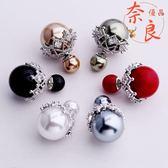韓版S925銀針貝珍珠雙面耳環簡約微鑲前后款耳飾品女【奈良優品】