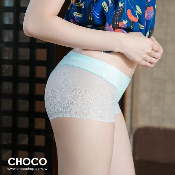 Choco Shop-蘿蔓莎‧萊卡無痕蕾絲剪裁內褲(天空藍) M~XL