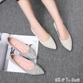 平底鞋女尖頭春百搭瓢鞋軟底晚晚孕婦鞋淺口平跟四季單鞋 潔思米