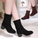 靴子女短靴2020年秋冬新款百搭馬丁靴絨面高跟中筒靴磨砂粗跟女靴 小山好物