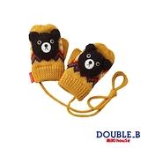 DOUBLE_B 黑熊北歐格紋保暖手套(芥末黃)