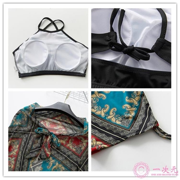 泳裝 小香風溫泉泳衣女士保守分體三件套聚攏顯瘦遮肚性感民族風游泳裝一次元