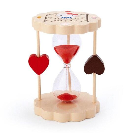 〔小禮堂〕Hello Kitty 迷你造型木製單管沙漏《棕紅.下午茶》3分鐘.計時器 4901610-49654