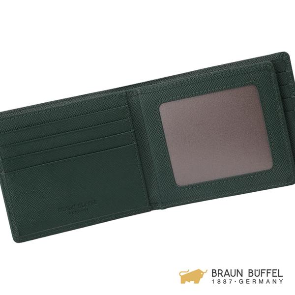 【BRAUN BUFFEL】尚恩B系列12卡中間翻透明窗皮夾 - 森林綠 BF355-317-FOR