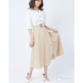 CANTWO側開襟裝飾棉麻長裙-二色