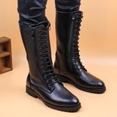 長筒靴子高筒騎士男靴高筒靴騎馬靴潮流男鞋高筒皮靴系帶冬季加絨  ATF  poly girl