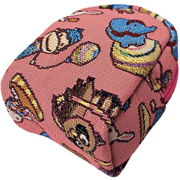 零錢包-開心迷你馬戲團後背包造型緹花零錢包 粉紅-REORE