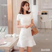 OL洋裝氣質修身顯瘦職業優雅白色魚尾連身裙名媛氣質中長款小白裙cp628【甜心小妮童裝】