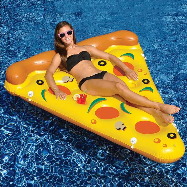 Qmishop 夏日充氣披薩造型 游泳圈 成人游泳圈 水上座椅 大號救生圈 充氣玩具 漂浮床 泳圈【QJ2139】