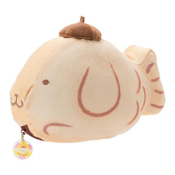 Hamee 日本正版 三麗鷗 春日和菓子 超柔軟 絨毛娃娃 零錢包 小物收納包 (布丁狗/鯛魚燒) 408999