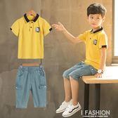 童裝男童夏裝套裝2018新款兒童韓版男孩夏季短袖牛仔兩件套休閒潮-Ifashion