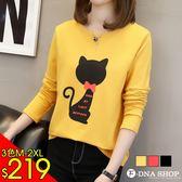 新品價219元★F-DNA★蝴蝶結黑貓咪圓領長袖上衣T恤(3色-M-2XL)【ET12855】