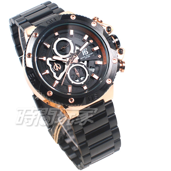 T5 sports time 三眼大錶徑 個性 潮男 學生錶 防水手錶 日期視窗 IP黑x玫瑰金 H3705玫黑
