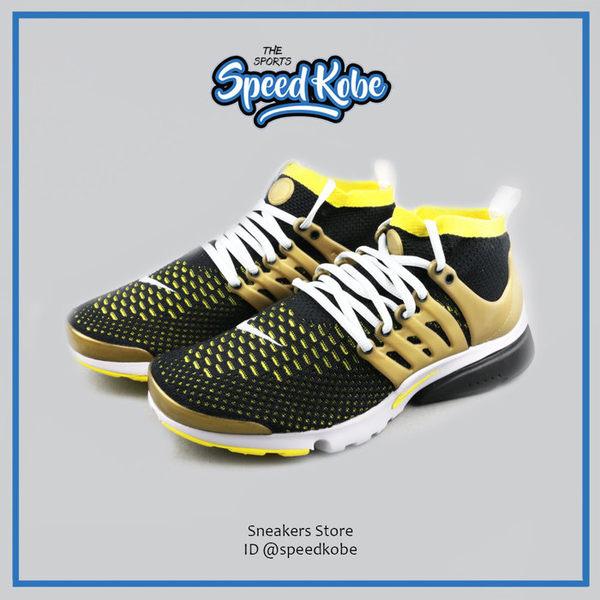 NIKE 魚骨鞋 Presto Flyknit 黑黃 gold 襪套 魚骨 編織 835570-007【SP】