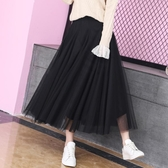半身裙女新品 新款 網紗裙很仙的裙子百褶裙仙女裙中長版黑色紗裙 聖誕裝飾8折