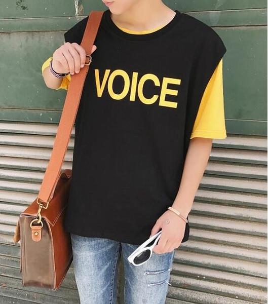 找到自己 MD 日系 時尚 潮 男 休閒 寬鬆 VOICE字母 特色短T 無袖T恤 背心 字母T