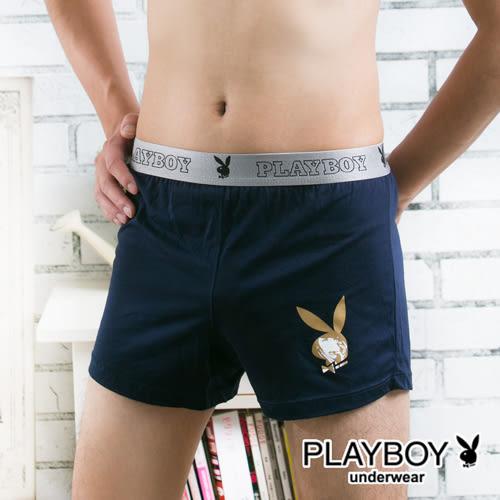 PLAYBOY四角褲 Logo織帶針織印圖平口褲(丈青色)-PB212A-0631