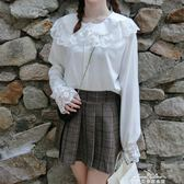 雪紡襯衣女學院風荷葉邊大翻領18秋冬洛麗塔loilta長袖白襯衫  『夢娜麗莎精品館』