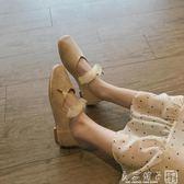 絨面綁帶蝴蝶結芭蕾舞鞋甜美方頭套腳淺口單鞋女平底鞋韓版仙女鞋      良品鋪子