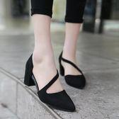 尖頭絨面粗跟高跟鞋綁帶單鞋涼鞋【洛麗的雜貨鋪】