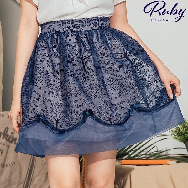 裙子 植絨森林花邊蝴蝶結後鬆緊短裙-Ruby s 露比午茶