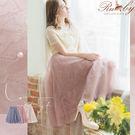 長裙 花朵蕾絲釘珠鬆緊長裙紗裙-深粉色-...
