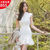 洋裝 小禮服 連衣裙 短袖拼接荷葉邊包臀裙 小P