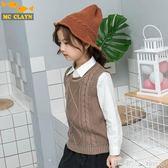 馬甲 新款兒童毛衣背心純色韓版簡約時尚女童針織馬甲秋冬保暖線衫馬甲  潔思米