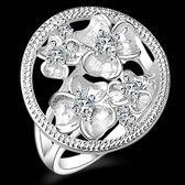925純銀戒指 鑲鑽-精美花朵生日情人節禮物女配件73aq36【巴黎精品】