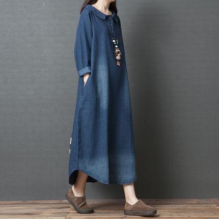 春裝新品1件85折 中國風文藝 2020新款 韓版寬鬆 大碼牛仔長袖連身裙-不含配飾