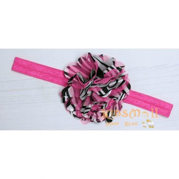 Cutie Bella彈性絲蕾絲茶花髮帶-Zebra Pink