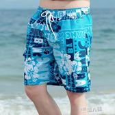 海灘褲 夏季沙灘褲男休閒薄款花短褲男士速幹游泳褲海邊度假時尚大叉褲 9號潮人館