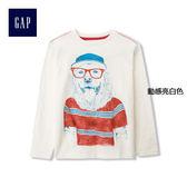 Gap男童 創意風格印花全棉長袖T恤 194413-動感亮白色