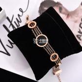 手鍊 精品鈦鋼歐美黑色圓形圓圈多層手鍊手環女款鍍玫瑰金個性流行飾品 卡菲婭