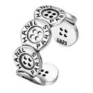 《 QBOX 》FASHION 飾品【348S49】精緻個性復古字創意鈕扣設計S925純銀/泰銀開口戒指