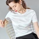 醋酸上衣寬鬆拼接緞面鎖骨圓領短袖T恤(七色S-3XL可選)/設計家 AL30778