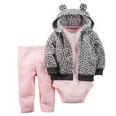 3件組長短袖刷毛外套+長褲套裝: 黑白豹紋: 121G093